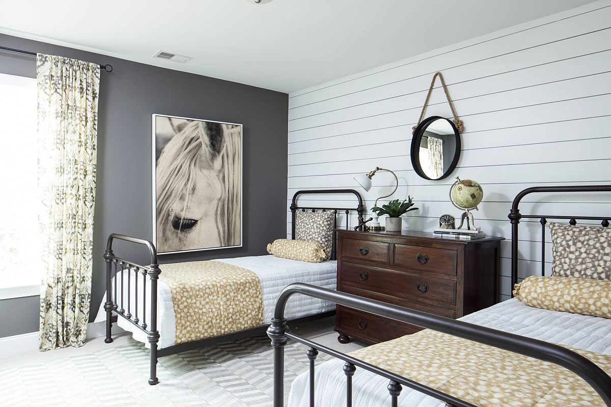 Beautiful and elegant dark gray accent wall for the modern farmhouse style bedroom
