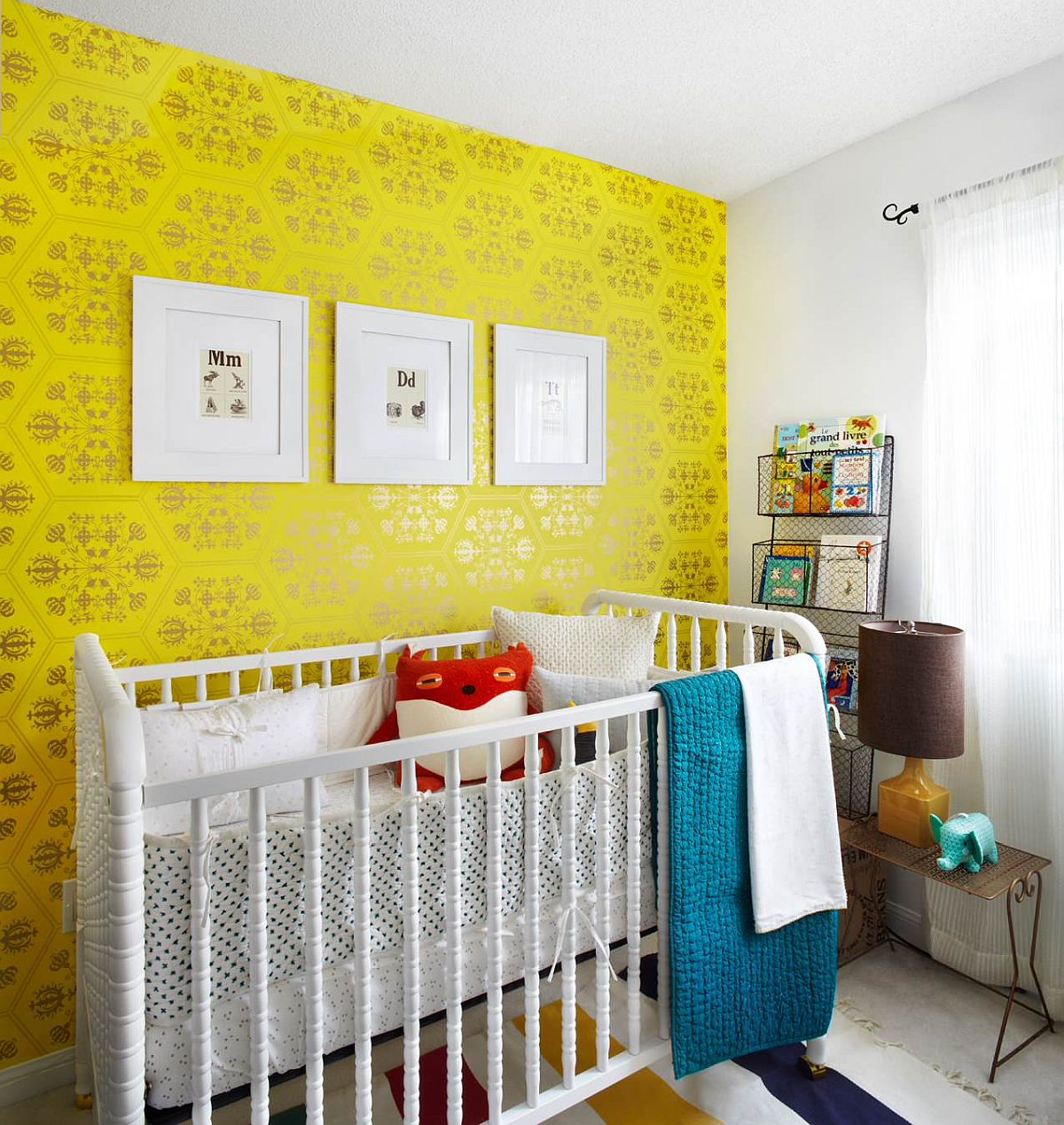 Beautiful yellow wallpaper with chic pattern for the stylish contemporary nursery in neutral hues