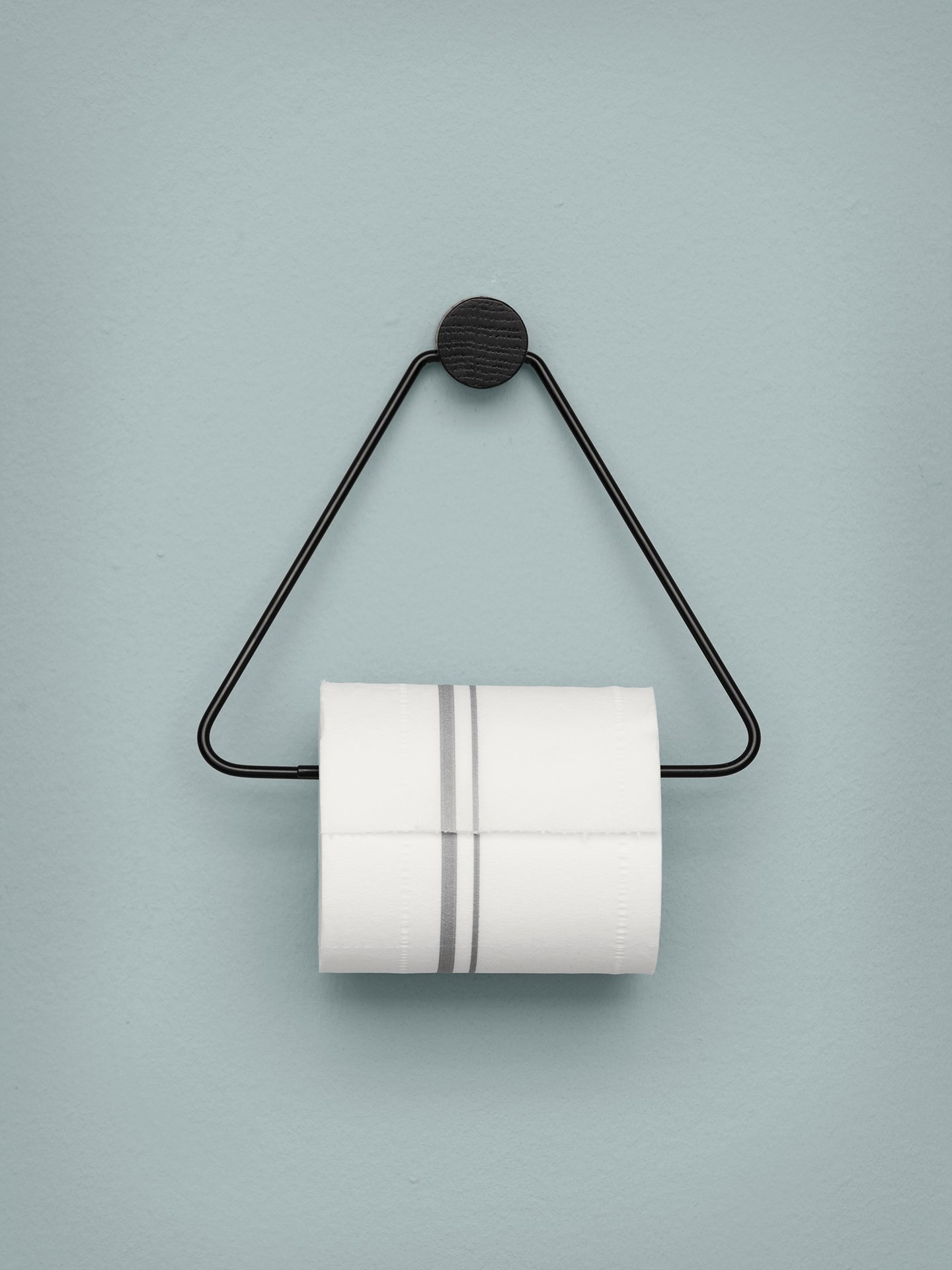 Black triangular toilet paper holder