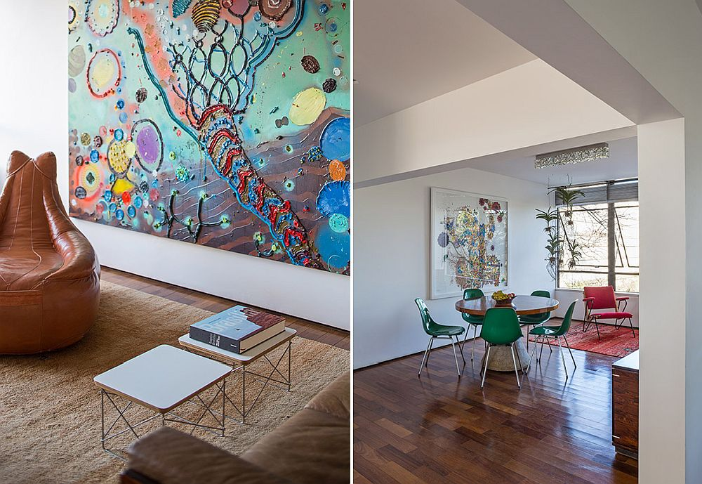 Both art work and furniture bring vivacious pops of color to the open living area