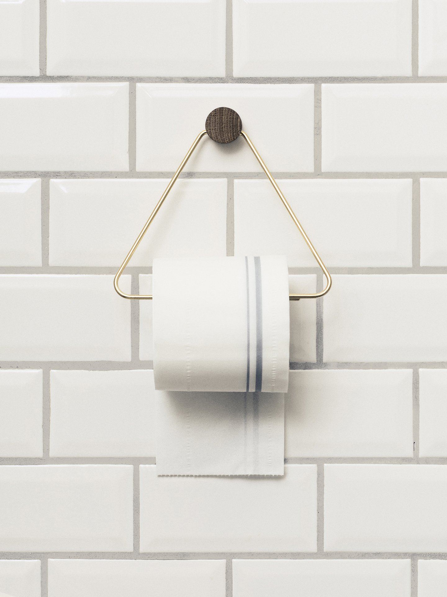 Brass and oak toilet paper holder