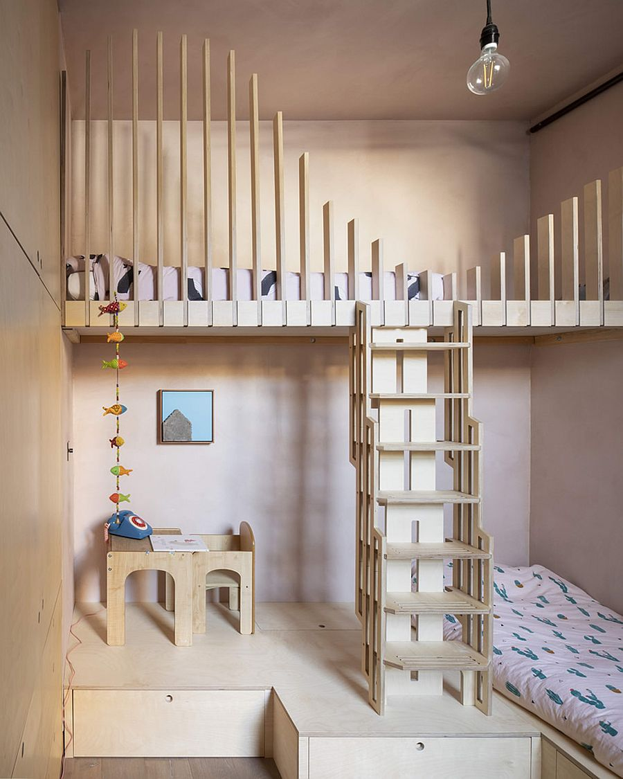 Bunk beds in the kids' room feel both fun and space-savvy