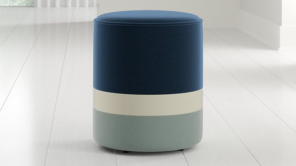 Clean-lined cylinder striped stool