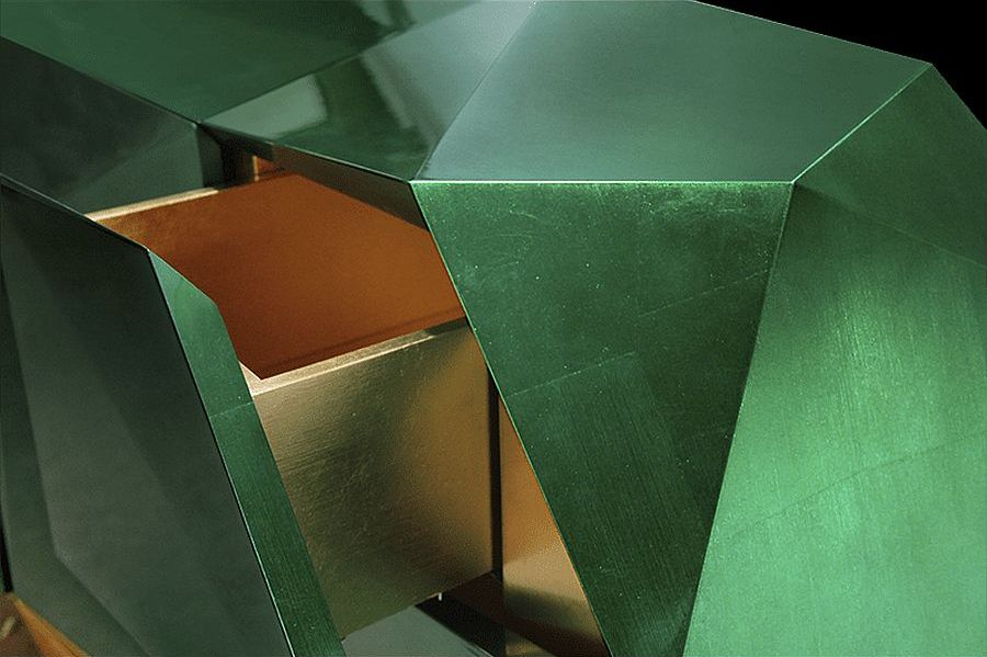 Closer look at the fabulous Diamond Emerald sideboard