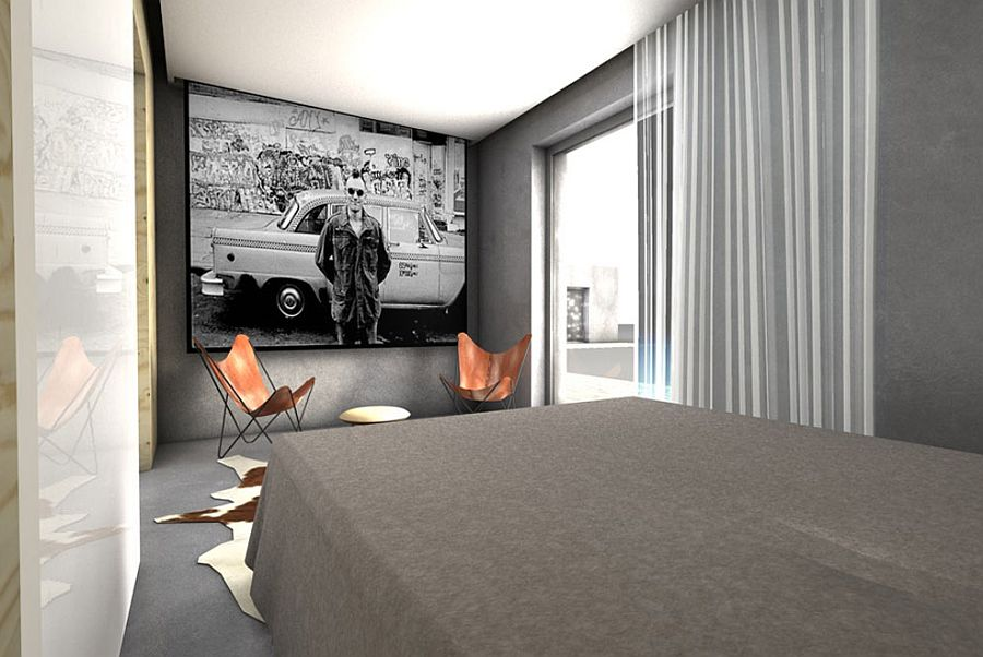 Contemporary-bedroom-in-white-gray-with-a-drop-down-screen-and-projector-34214