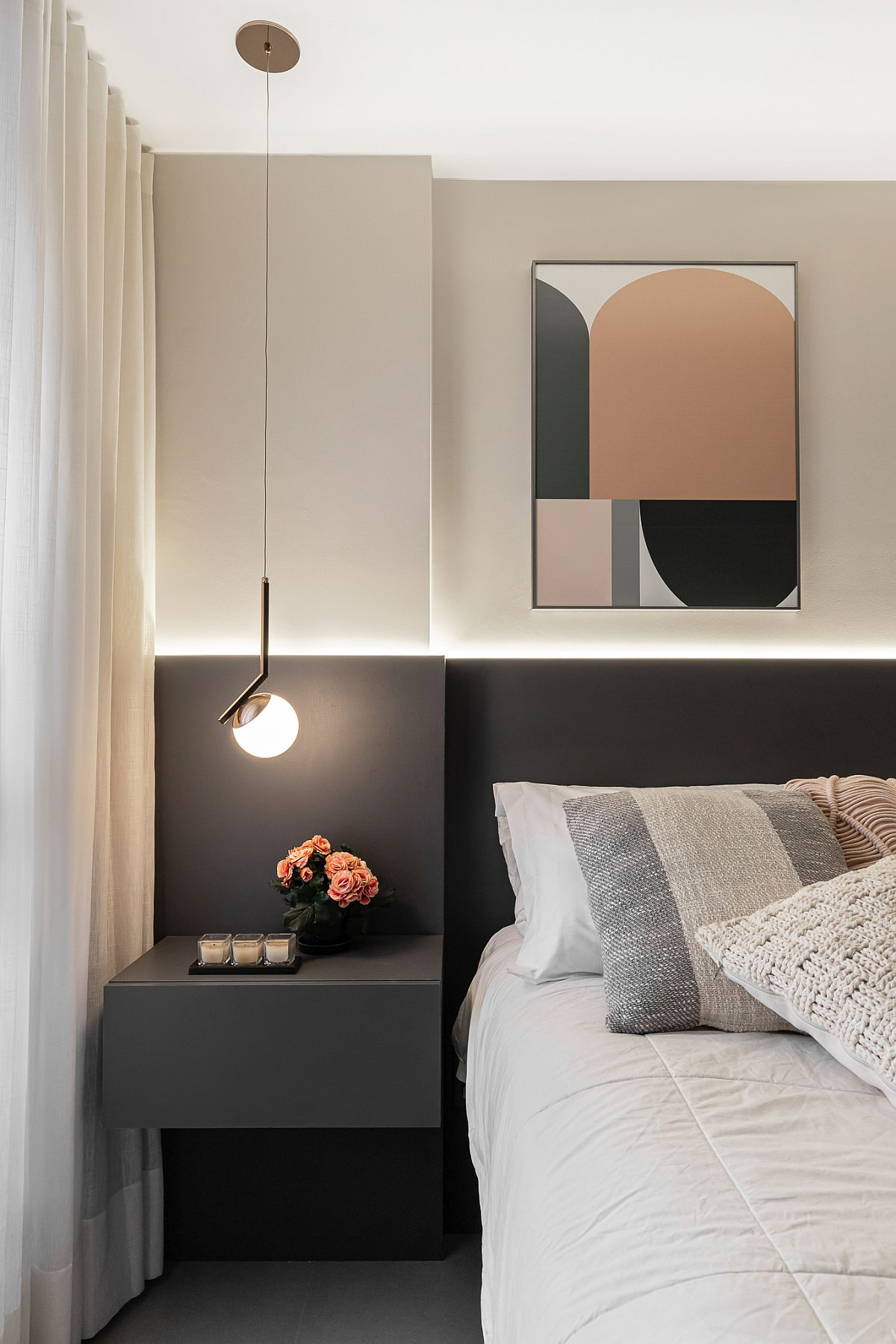 Contemporary bedside pendant light is perfect for the small nightstand