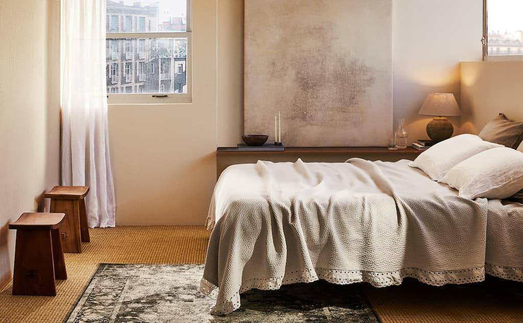 Cozy minimalist bedroom from Zara Home