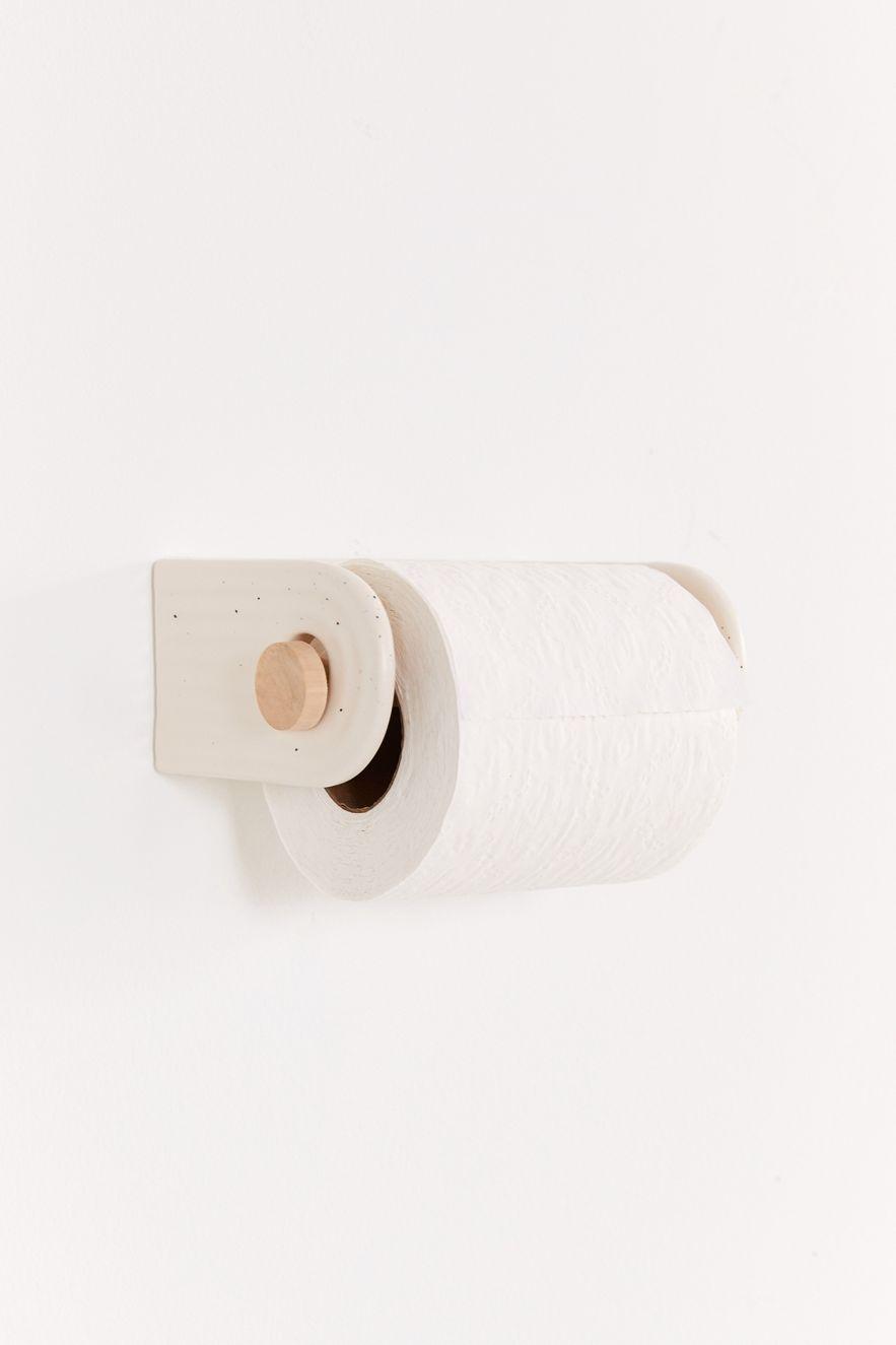 Cream ceramic toilet paper holder