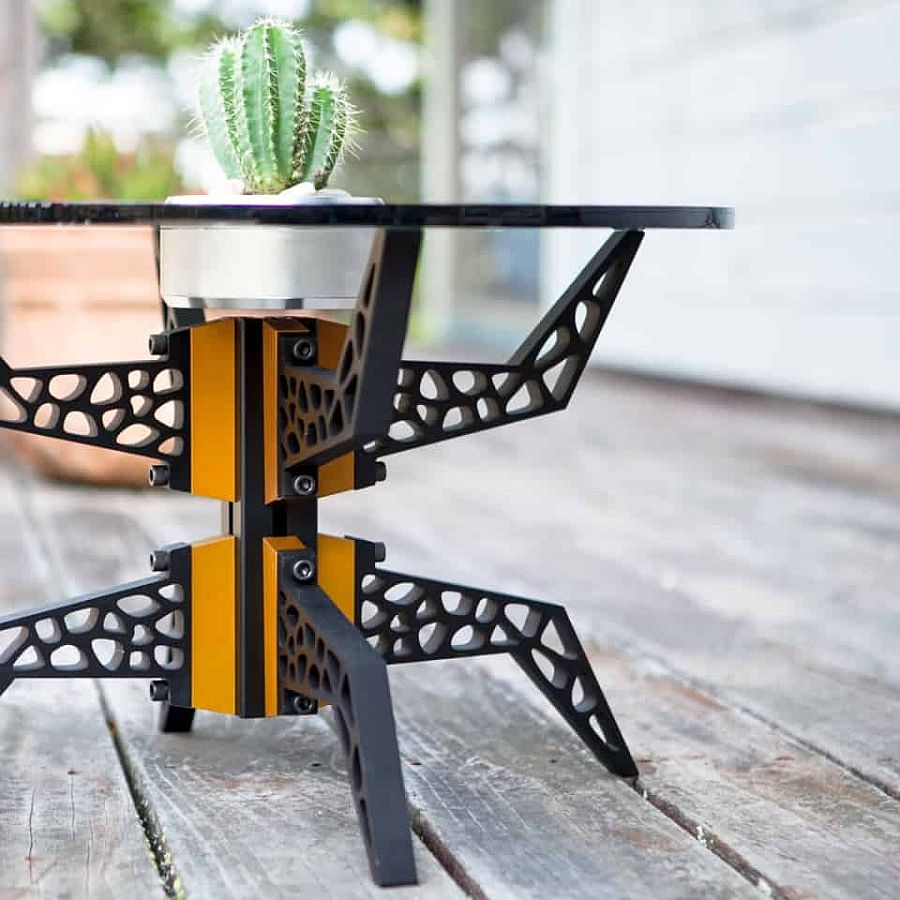 Create a custom coffee table with color and industrial vibe