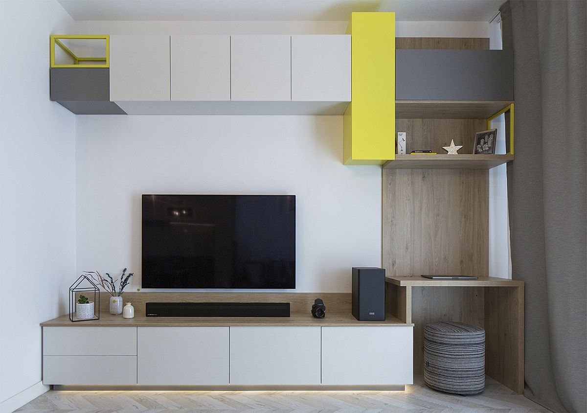 Custom wooden cabinets offer modular storage solution for the living room