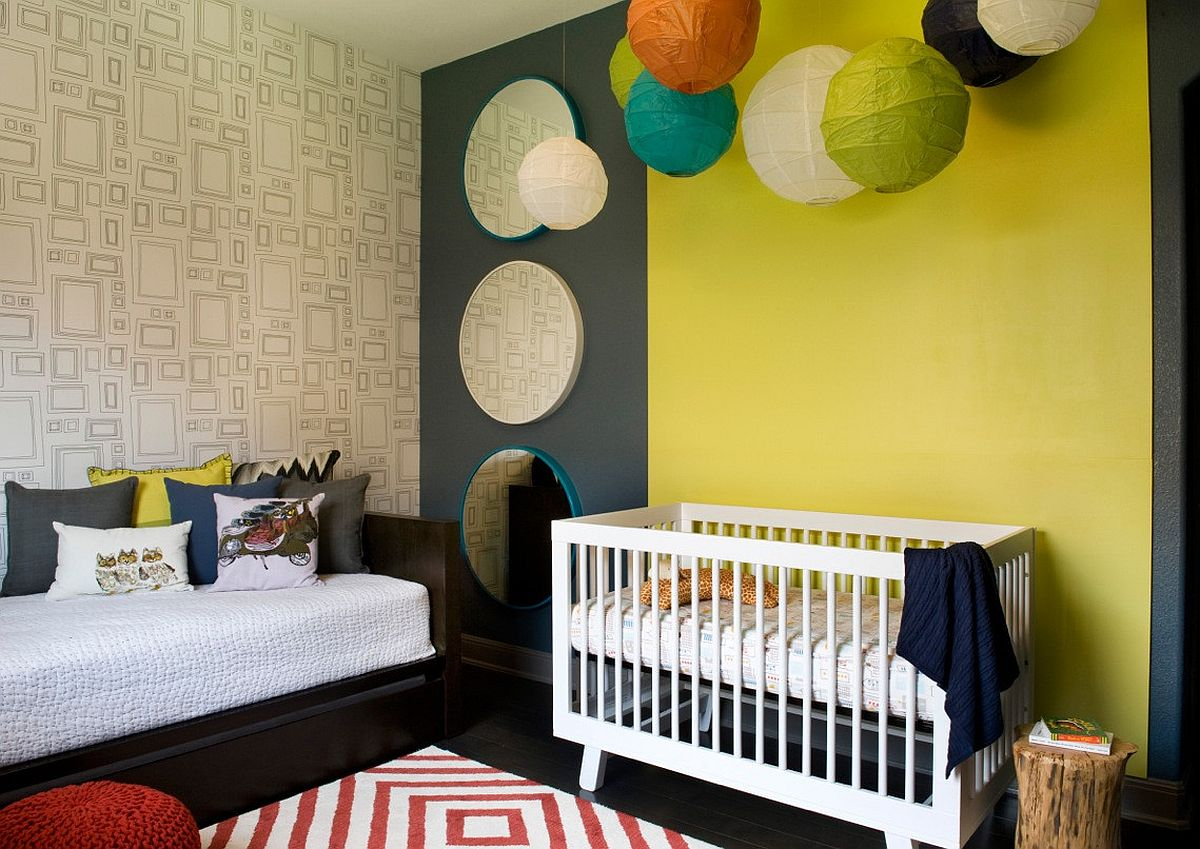 Dak gray coupled with yellow in the gorgeous modern nursery with a rug that adds pattern to the space