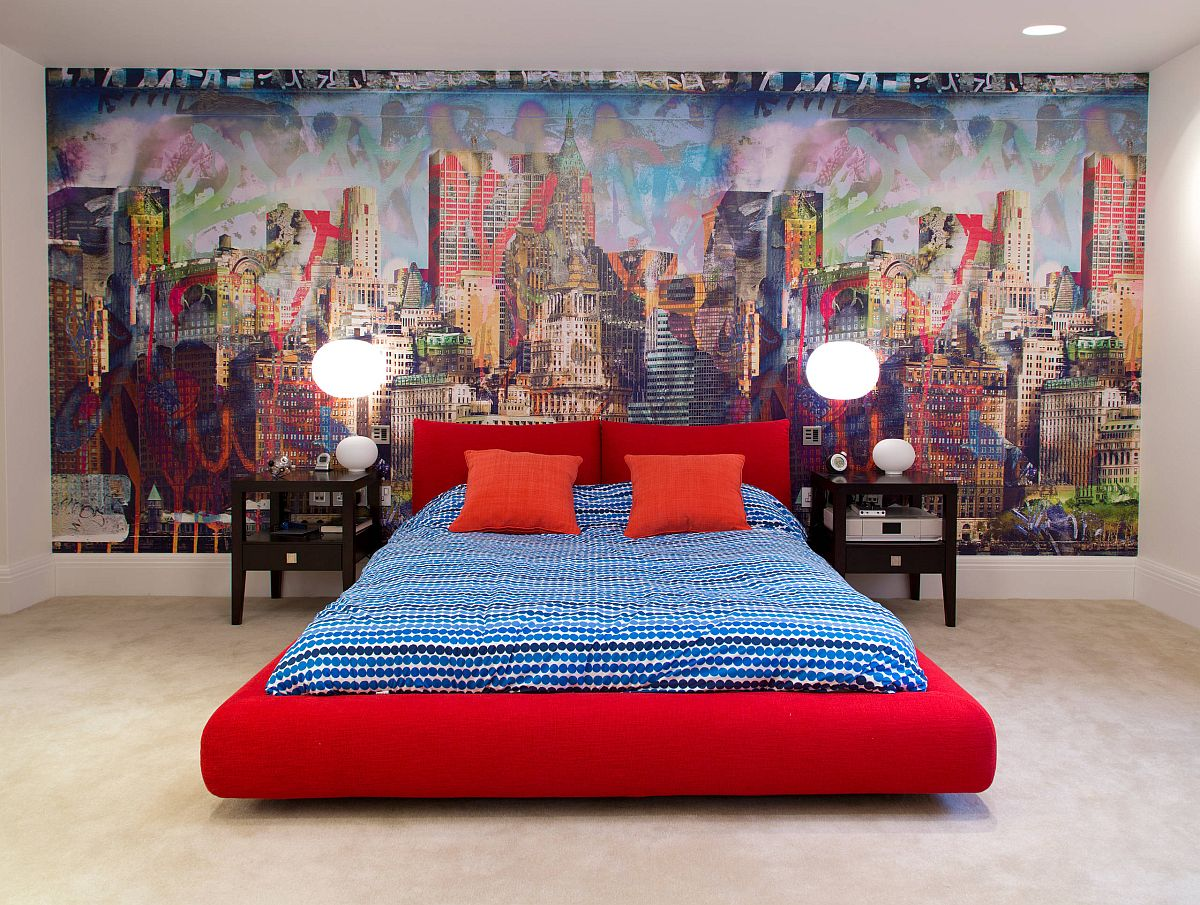 Dashing platform bed in red for urban boys' bedroom with streetscape in the backdrop