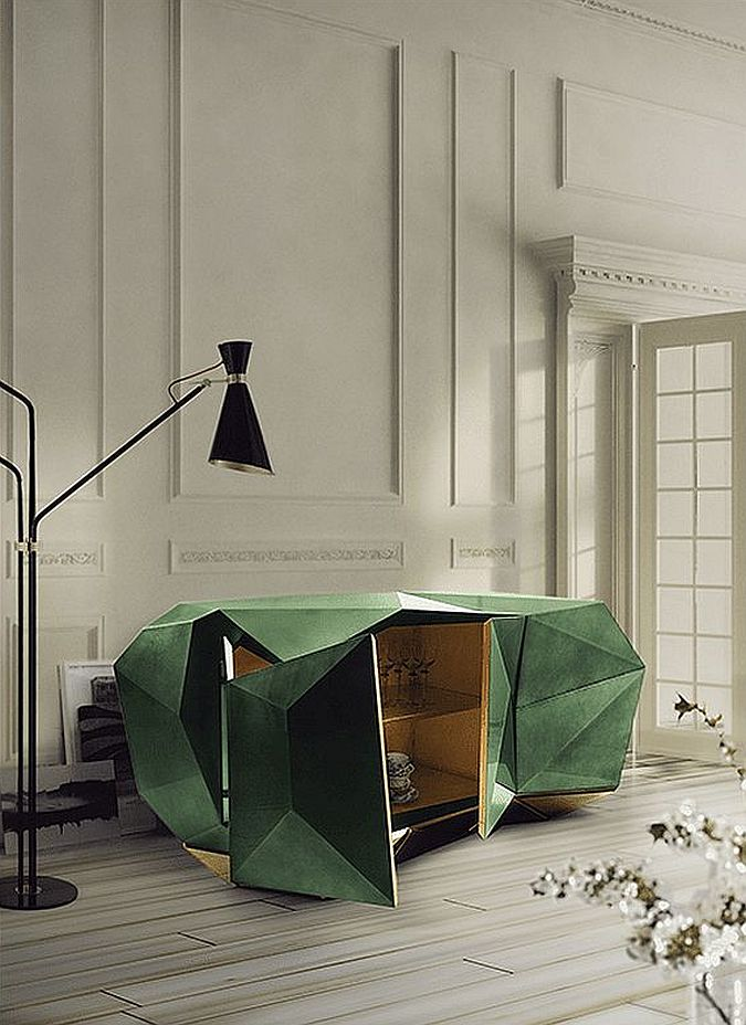 Diamond Emerald sideboard with its iconic design in green has an edgy minimal vibe