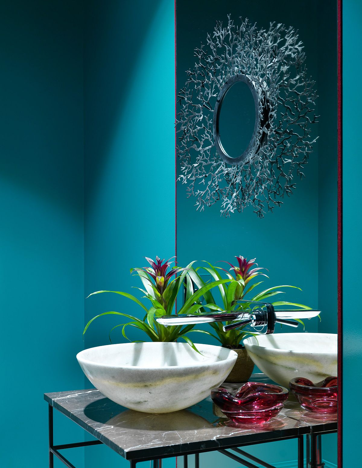 Explore different shades of blue for a more unique powder room!