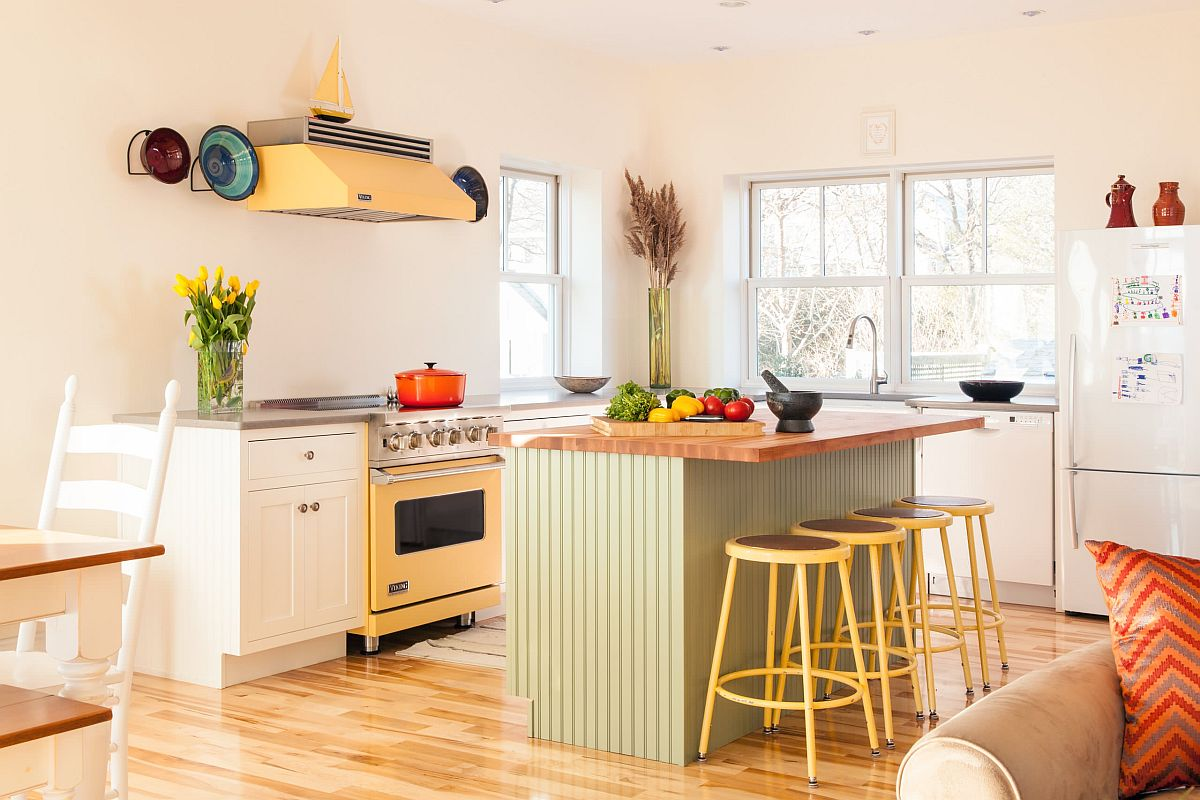 Exquisite-eclectic-kitchen-with-a-white-backdrop-and-blocks-of-pastel-green-and-yellow-92038