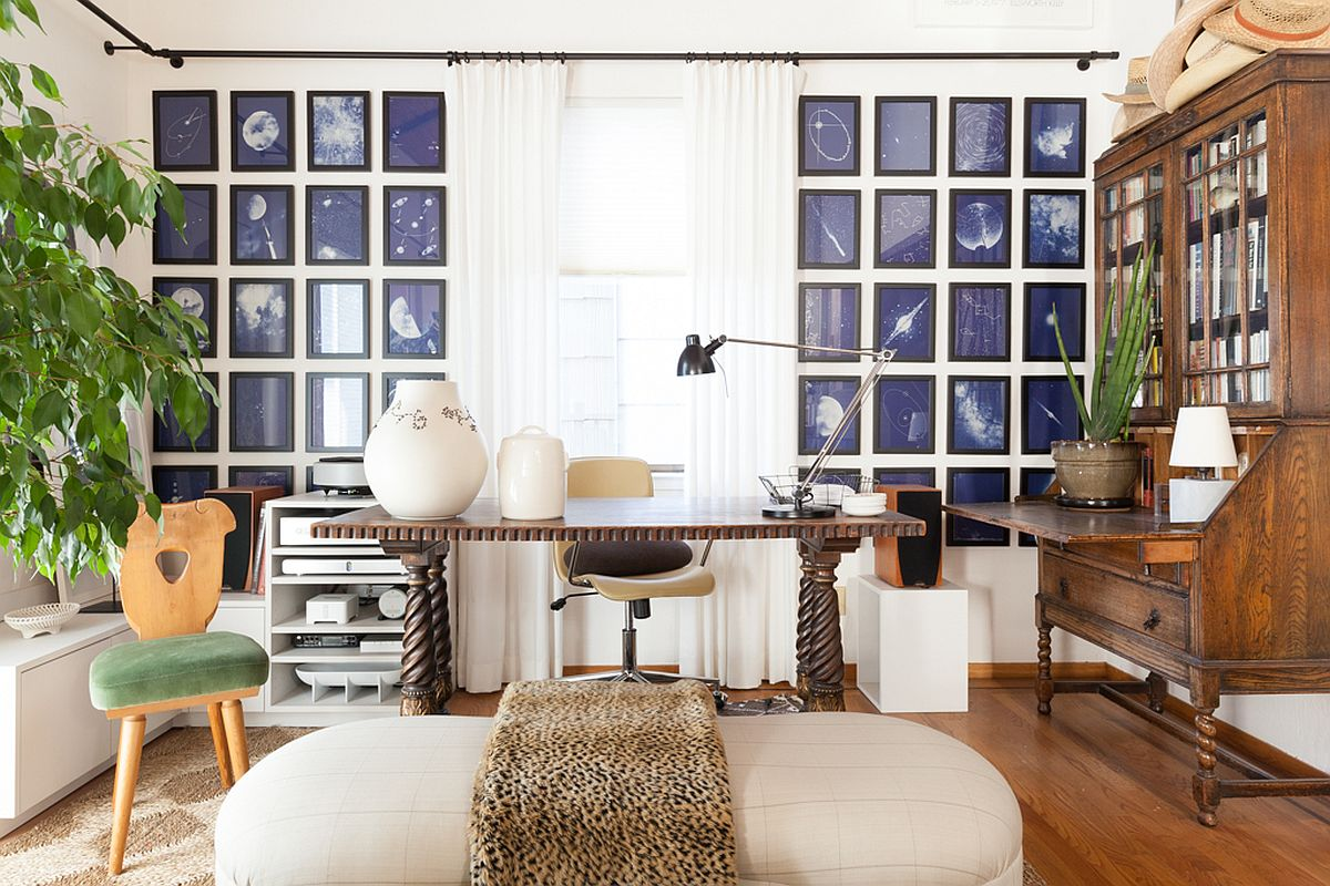 Fabulous framed pieces with astronomy as its theme make a statement in the home office and living room even while adding color