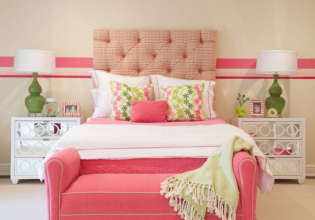 Fabulous teen girls' bedroom with neutral backdrop and lovely pops of pink and green