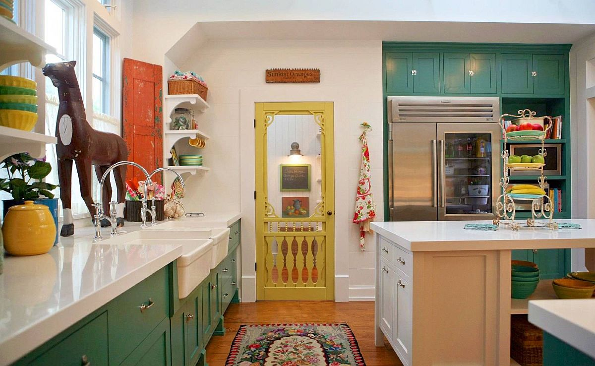 Farmhouse-style-kitchen-with-greeen-cabinets-and-a-door-in-yellow-along-with-vintage-wooden-shutter-in-the-corner-26389