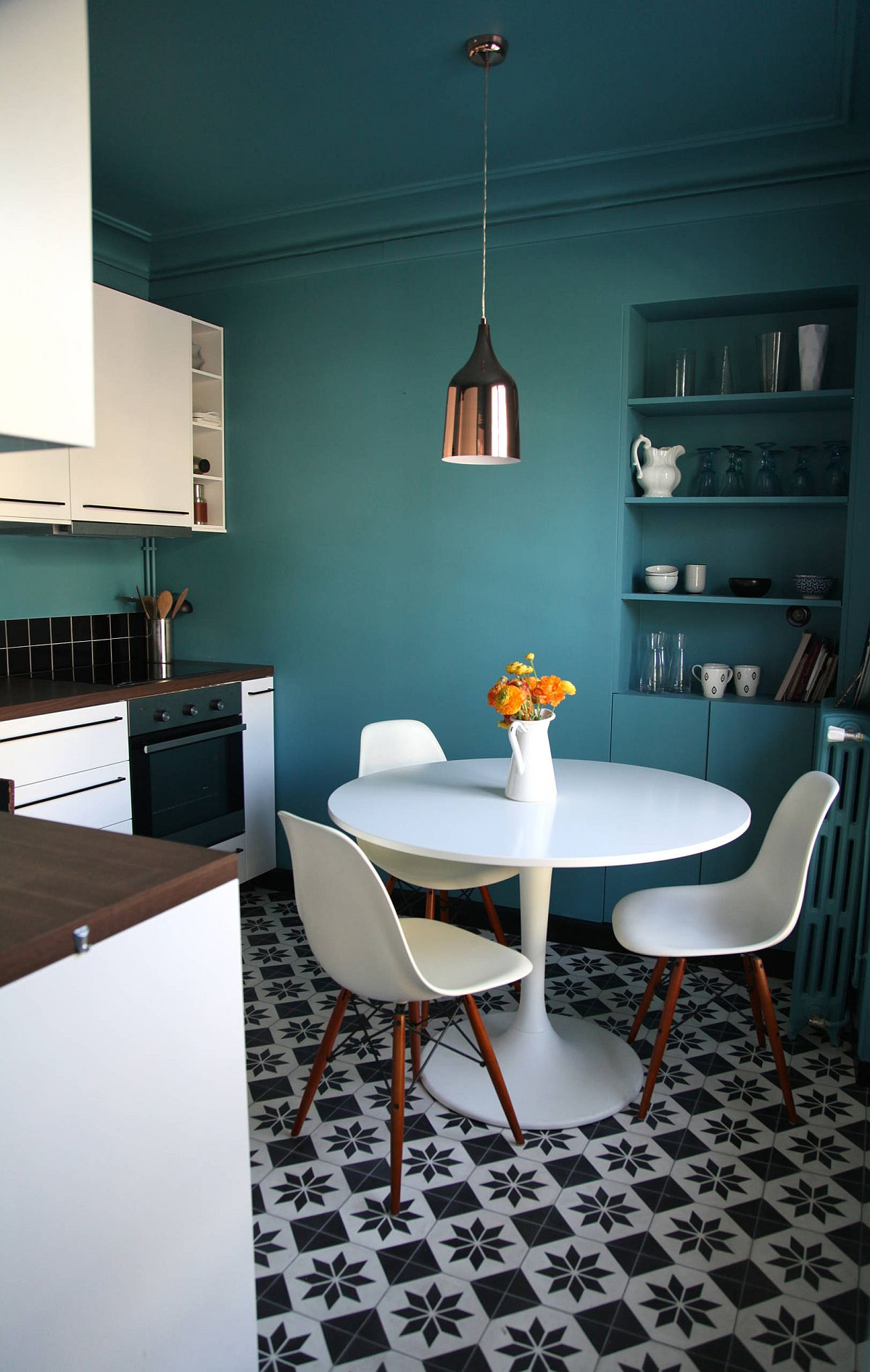 Find the shade of turquoise that works for you in the small kitchen