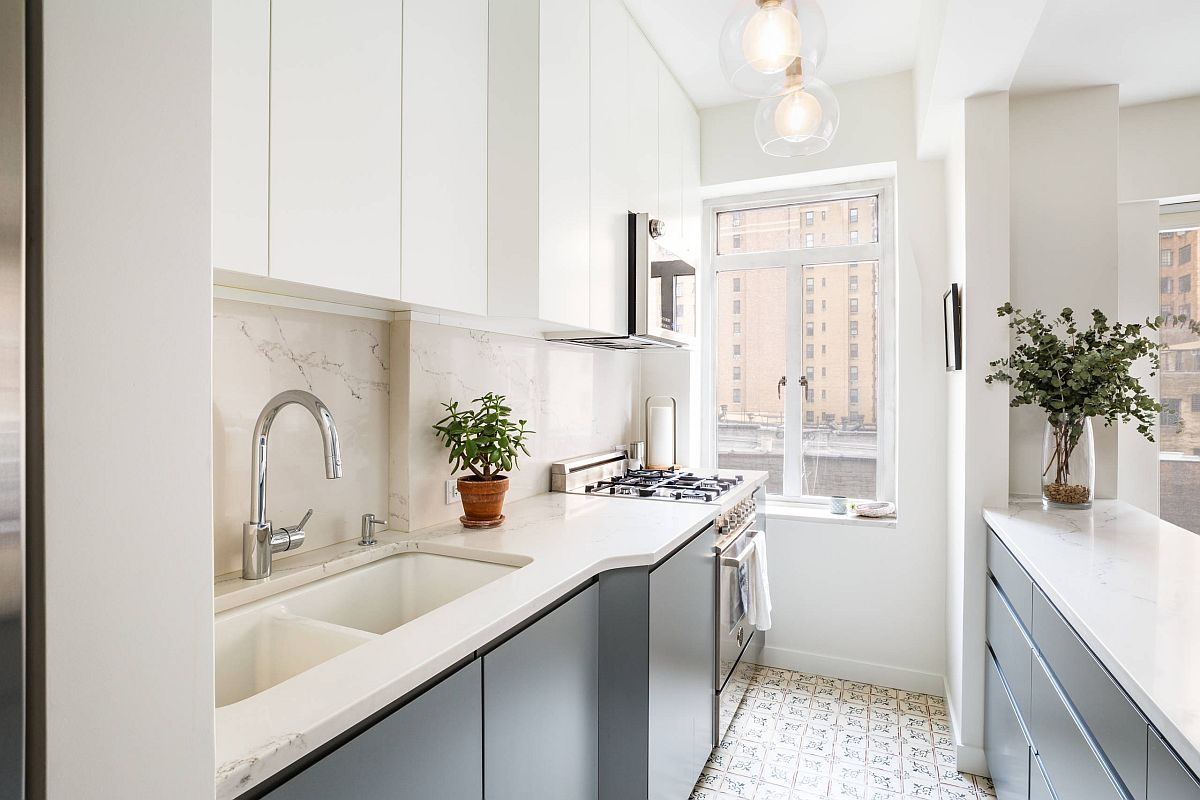 Finding space for twin sinks and a separate prep zone inside the tiny apartment kitchen