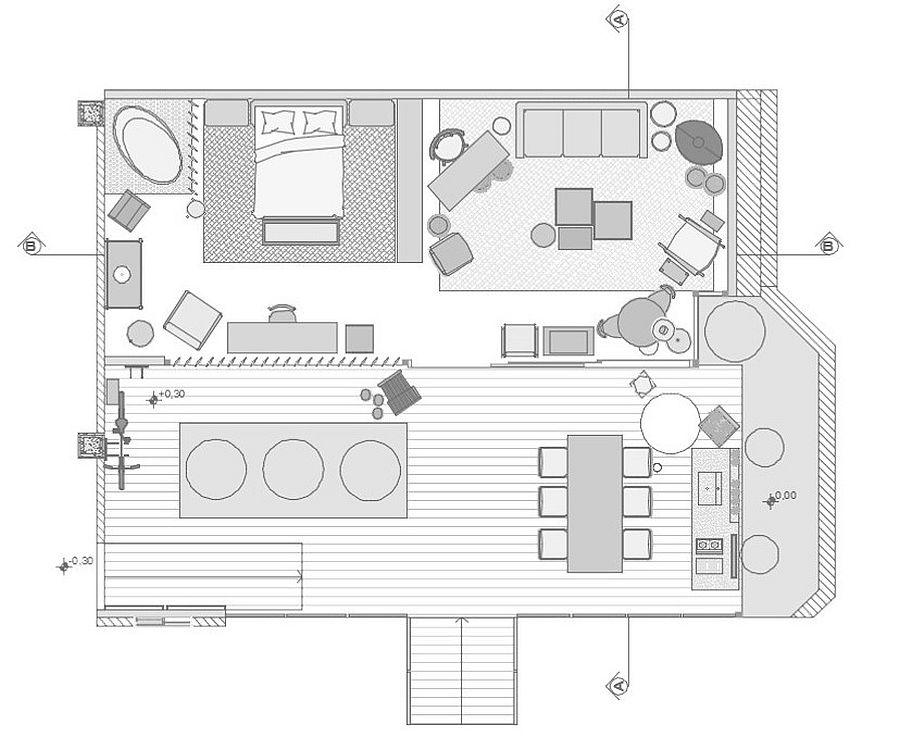 Floor plan of Modern Forest House in Brazil