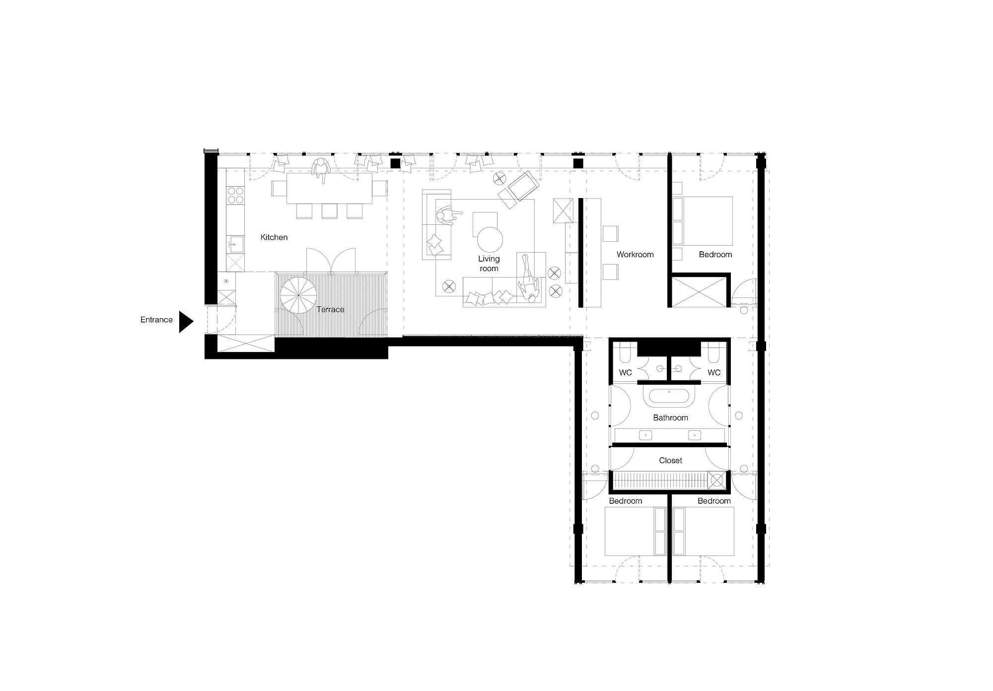 Floor plan of dashing apartment in Vilnius that was previously a warehouse