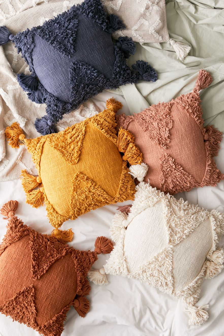 Geometric shag pillows from Urban Outfitters