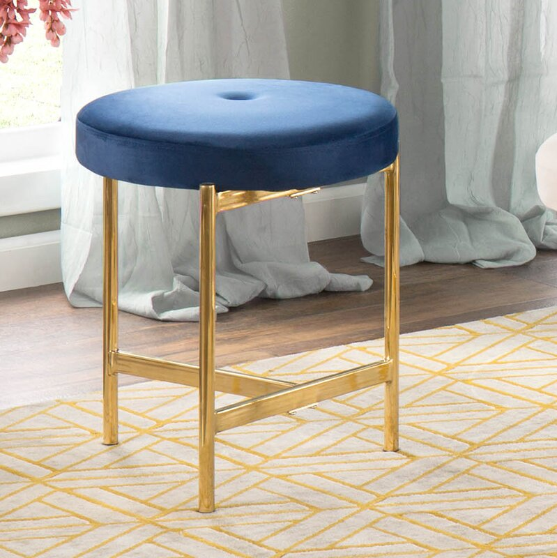 Gold and blue glam vanity stool
