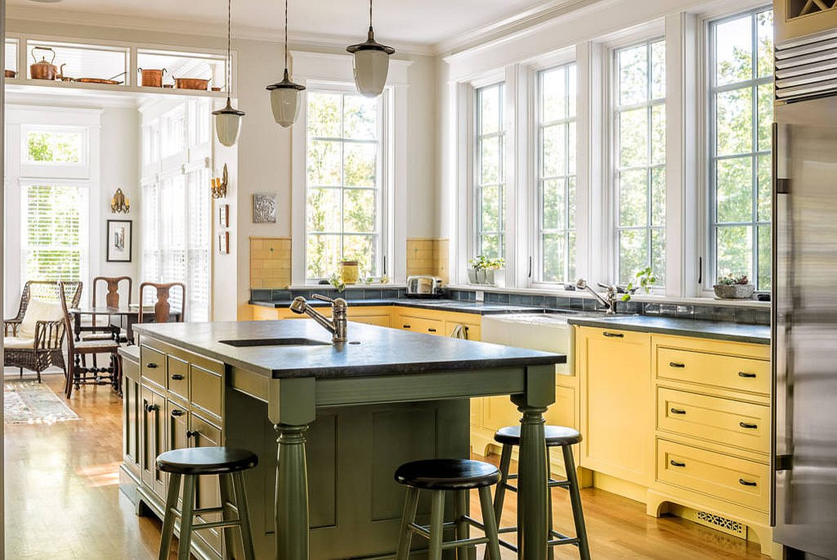 Green-and-yellow-in-mellow-matte-shades-add-color-to-this-light-filled-traditional-kitchen-23159