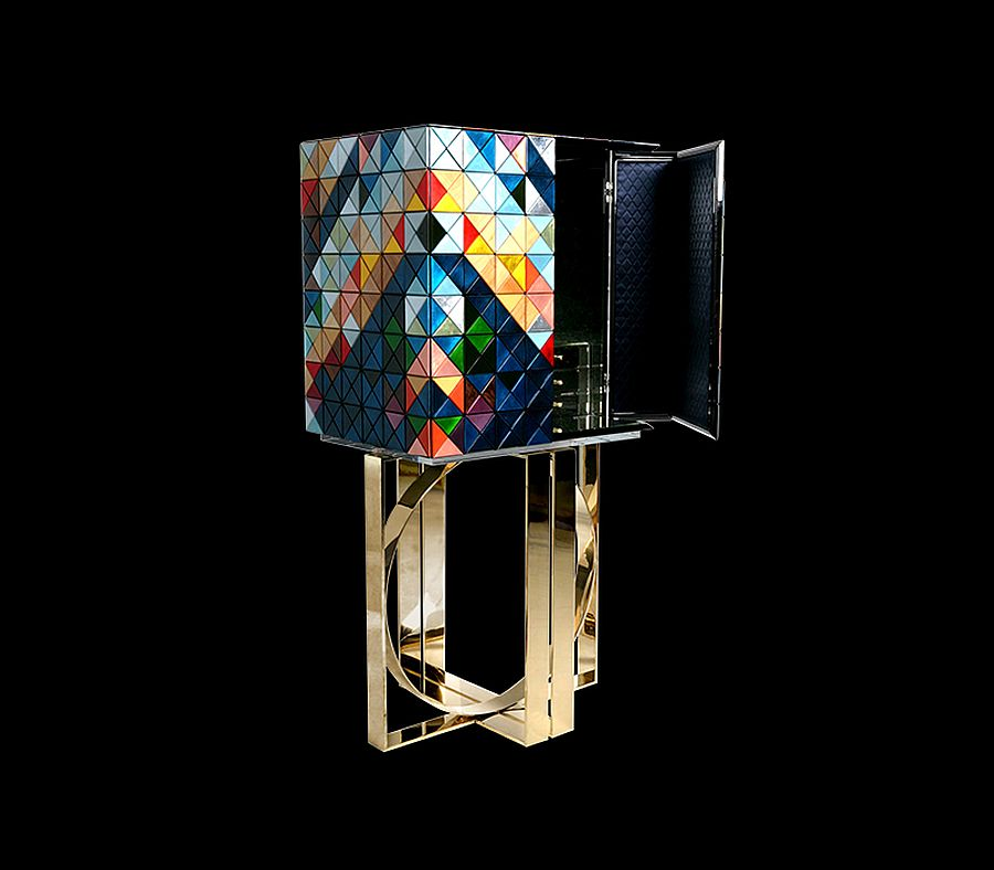 Handmade leaf gilding triangles an polished brass base create a fabulous limited edition cabinet