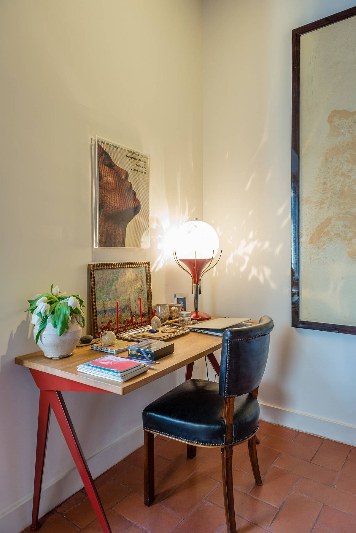 Lighting makes a big imapct in the small eclectic home office