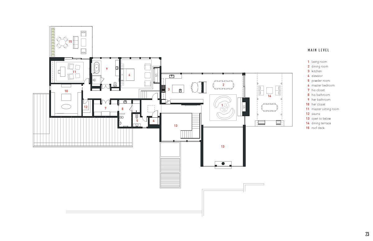 Main level floor plan of The Lookout House in Aspen, Colorado