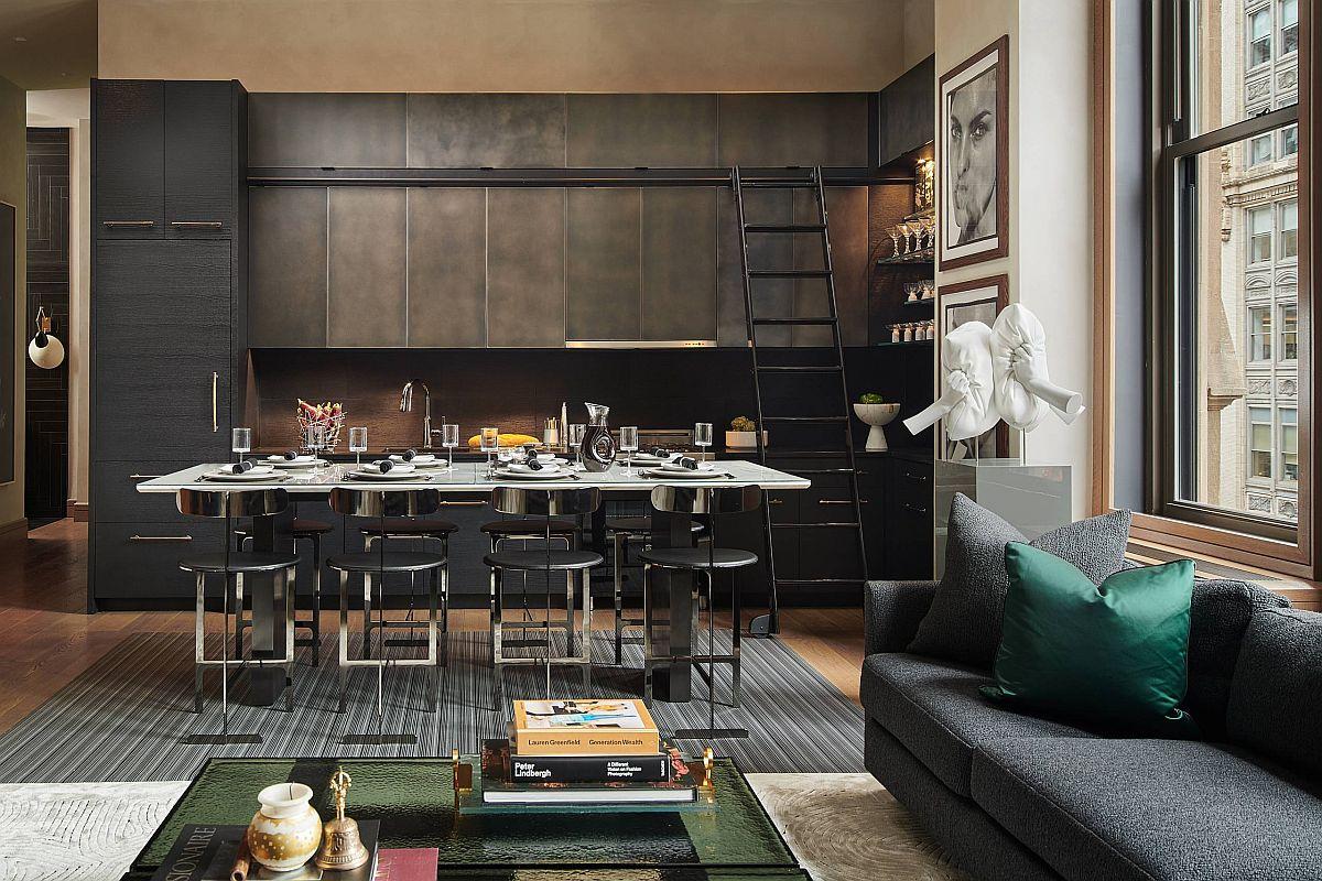 Manhattan kitchen emraces modern industrial style with polished panache