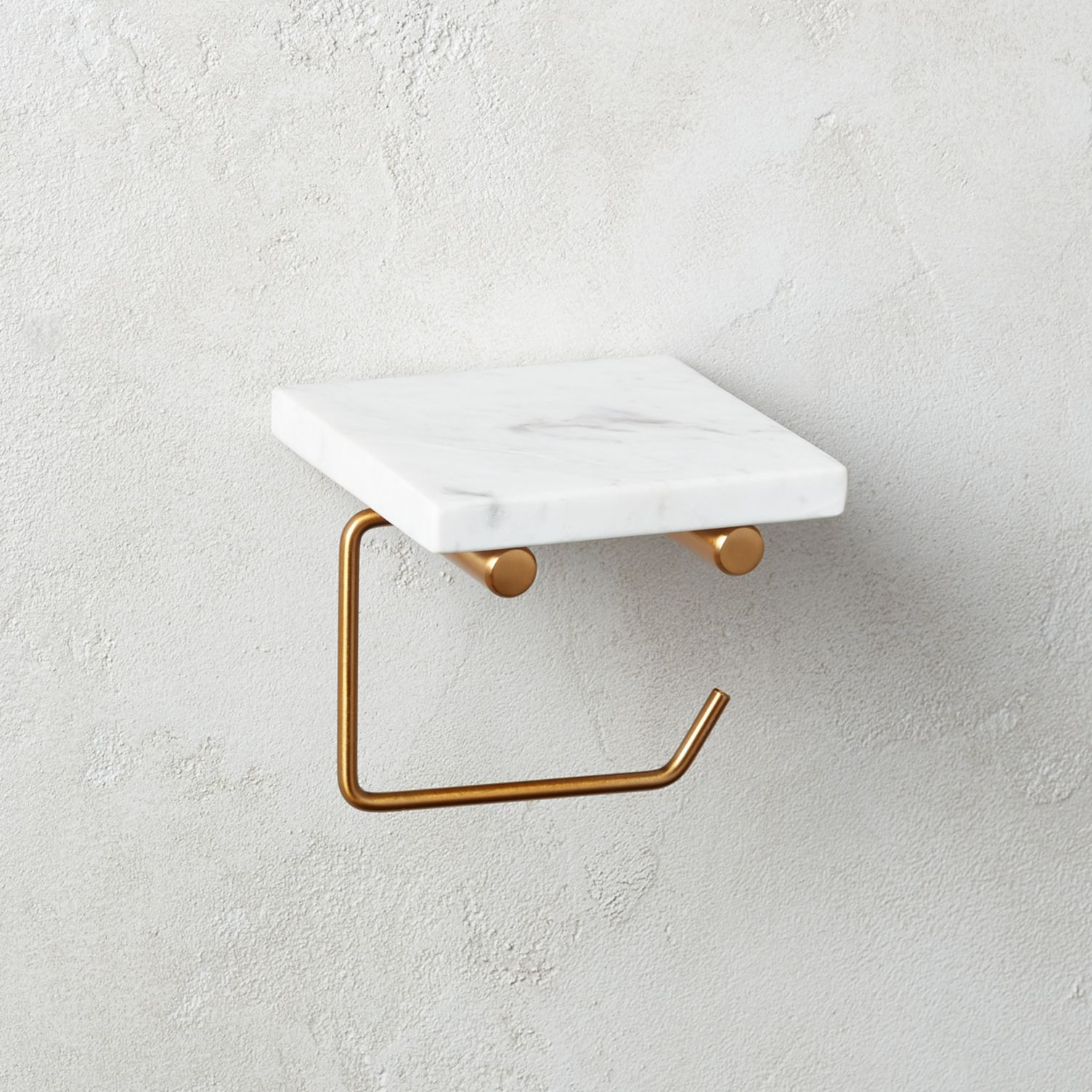 Marble and brass toilet paper holder