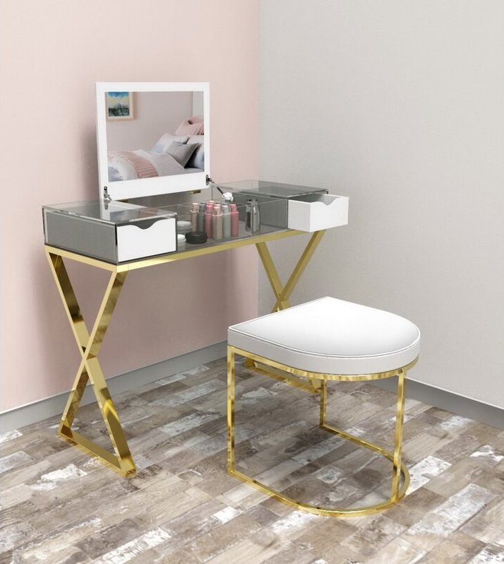 Metal vanity stool with a curved gold-toned base