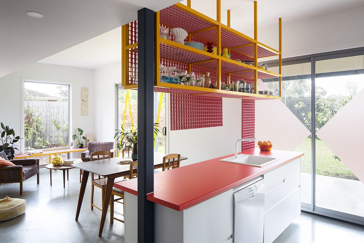 Metallic-grid-shelf-hanging-down-from-the-eciling-adds-a-storage-option-in-the-kitchen-15790