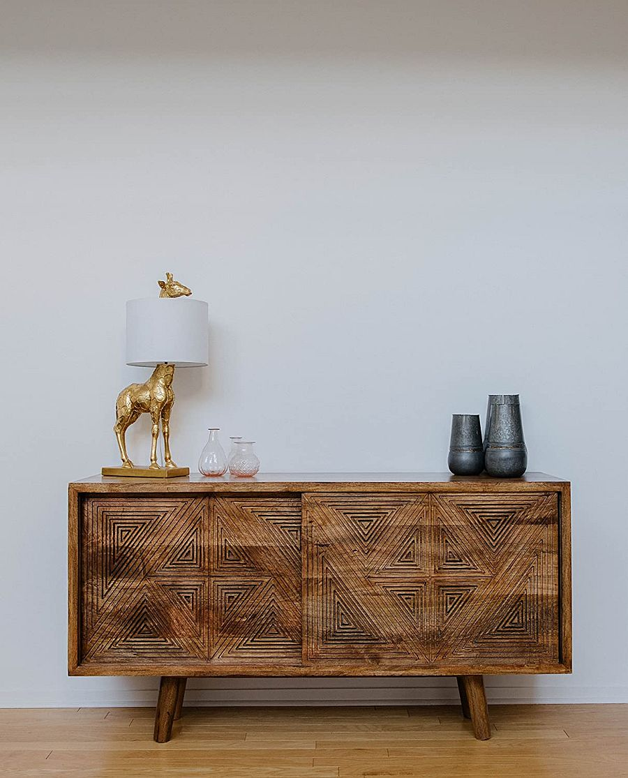 Mid-century modern side table coupled with the Harbaugh table lamp