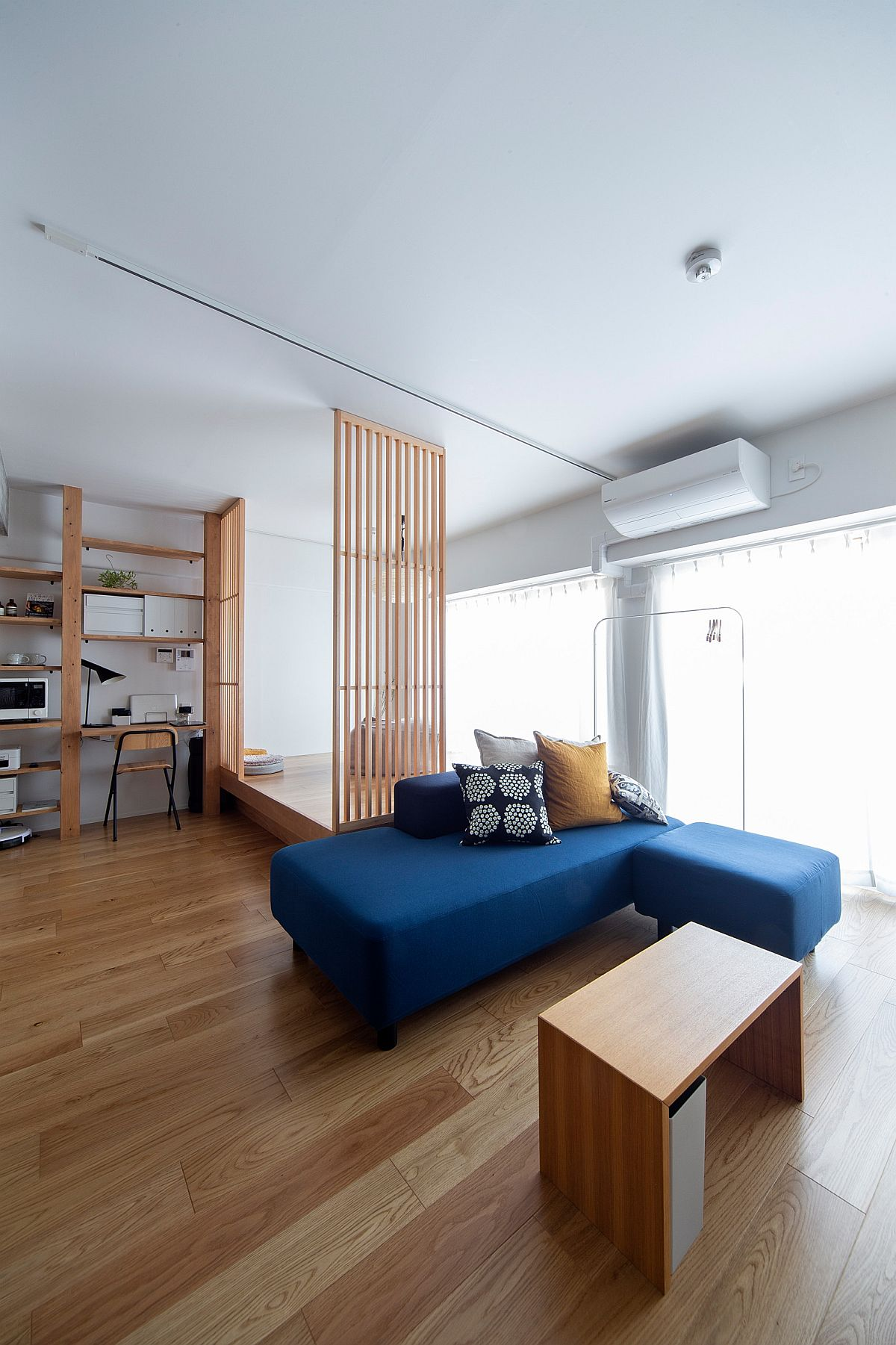 Minimal and contemporary sofa in blue for the modern minimal living room