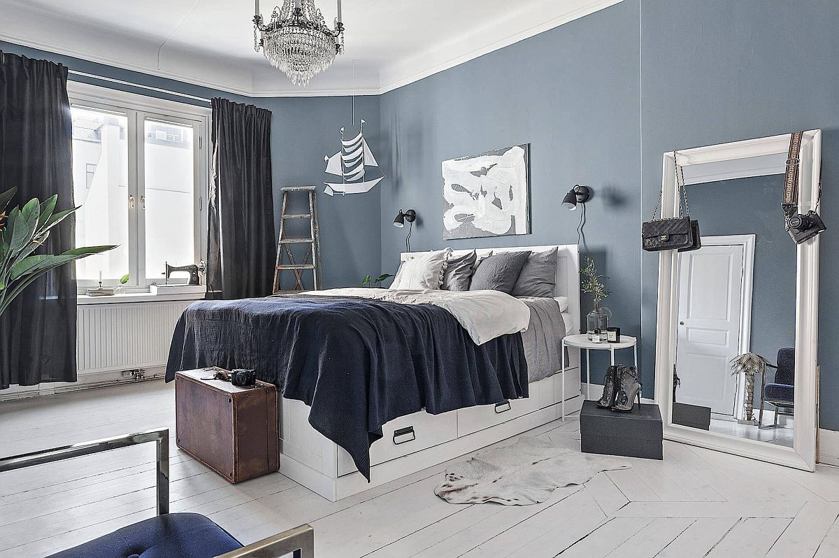 Modern Scandinavian style bedroom in white and gray