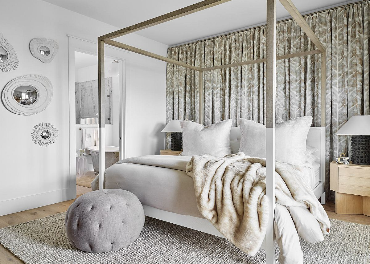 Modern beach style bedroom of the bungalow in muted colors