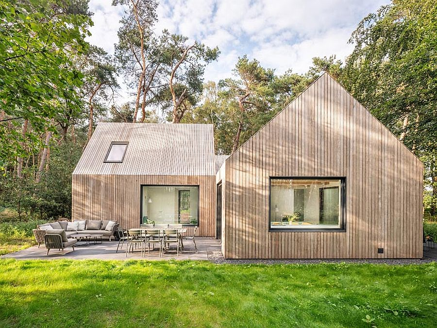 Modern cabin in the woods in Netherlands combines three different units into one