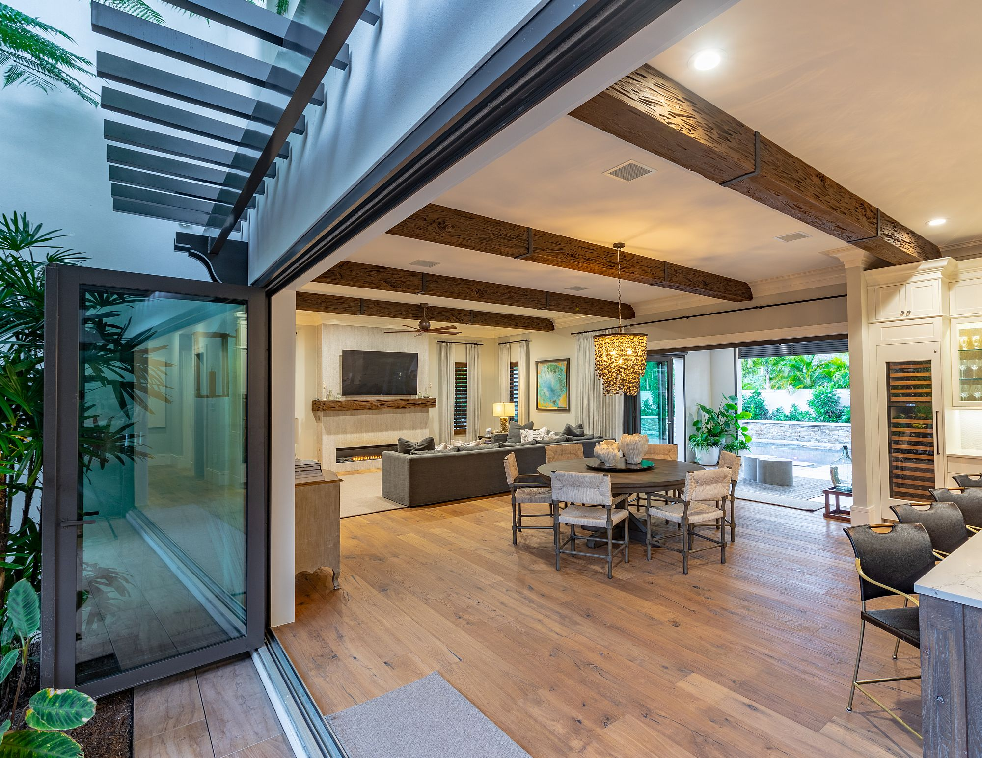Nano wall systems and glass doors connect the great room with the patio and the outdoors