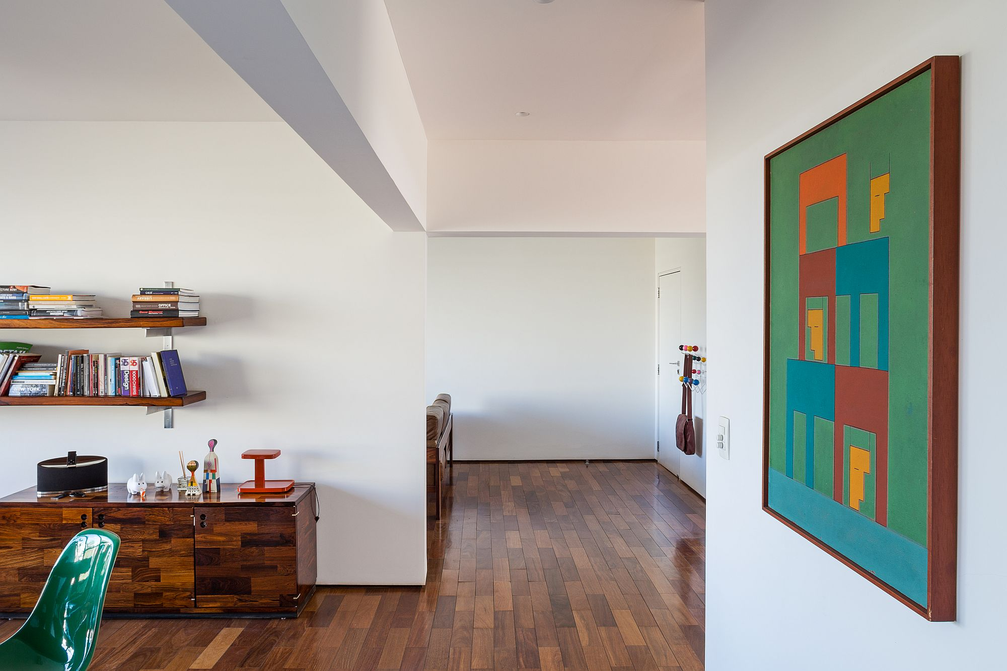 New wooden floor inside the home adds to its fresh, cheerful look