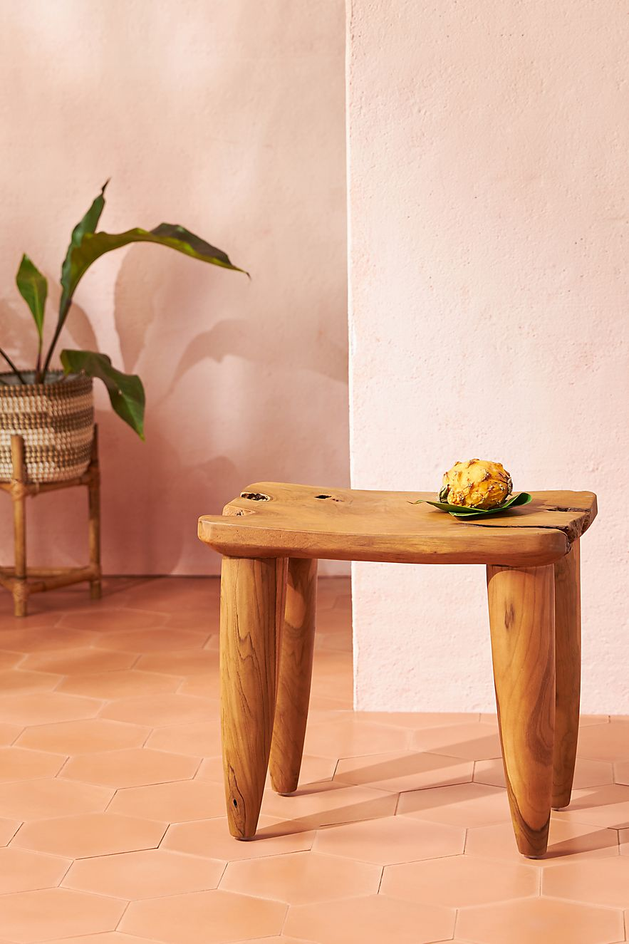 Outdoor stool crafted from teak