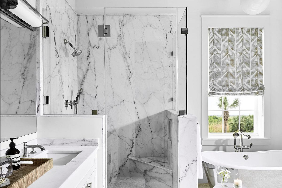 Perfect luxurious modern beach style bathroom with marble finishes