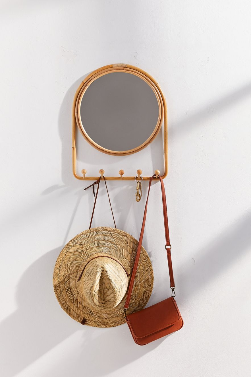 Rattan mirror with built-in hooks