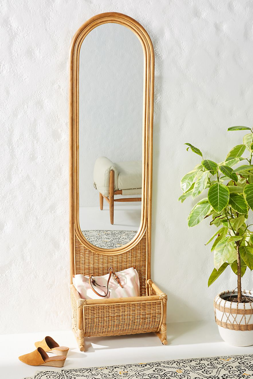 Rattan mirror with built-in storage