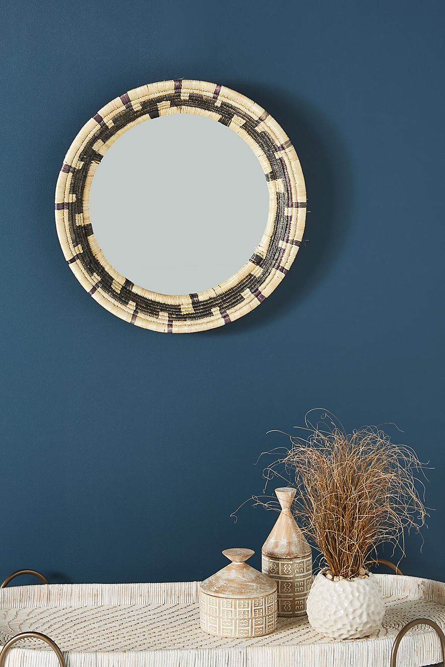 Rattan mirror with woven basket style