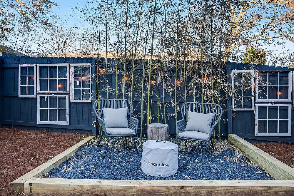 Relax in the small private yard outside the beautiful tiny house in Atlanta