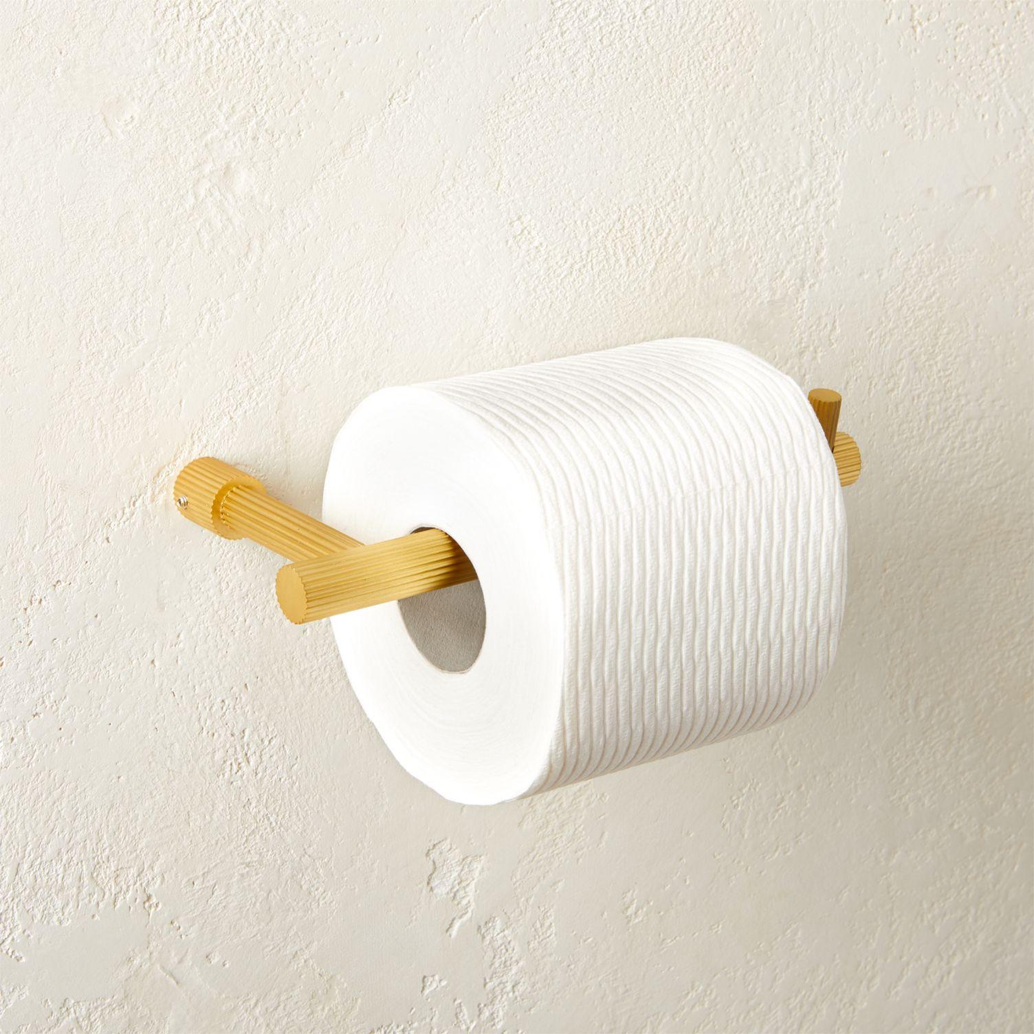 Ridged brass toilet paper holder